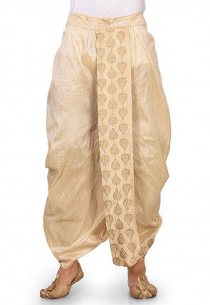 Embroidered Dupion Silk Dhoti in Beige
