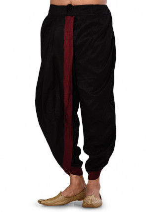 Embroidered Dupion Silk Dhoti Pant in Black