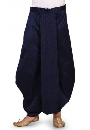 Embroidered Dupion Silk Dhoti in Dark Blue