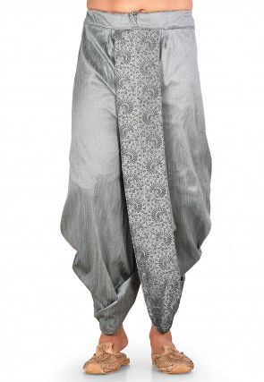 Embroidered Dupion Silk Dhoti in Grey