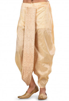 Embroidered Dupion Silk Dhoti Pant in Light Beige