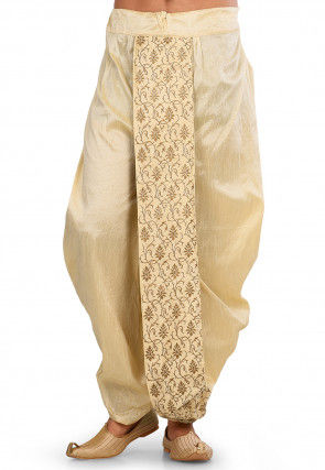 Embroidered Dupion Silk Dhoti in Light Beige