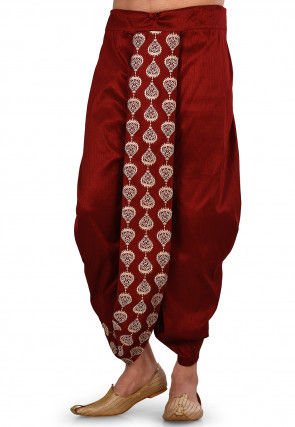 Embroidered Dupion Silk Dhoti Pant in Maroon