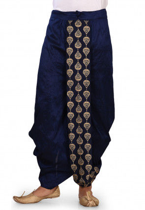 Embroidered Dupion Silk Dhoti in Navy Blue