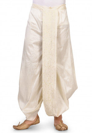 Embroidered Dupion Silk Dhoti in Off White