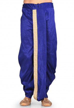 Embroidered Dupion Silk Dhoti in Royal Blue