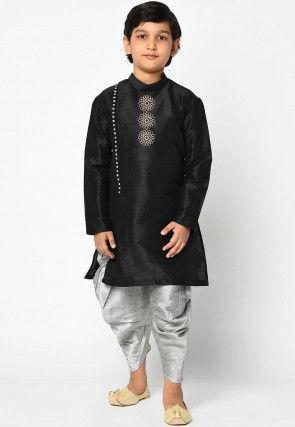 Embroidered Dupion Silk Dhoti Kurta in Black