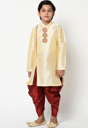 Embroidered Dupion Silk Dhoti Kurta in Light Beige