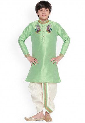 Embroidered Dupion Silk Dhoti Kurta in Light Green