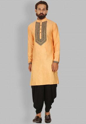 Embroidered Dupion Silk Dhoti Kurta in Light Orange