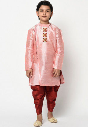 Embroidered Dupion Silk Dhoti Kurta in Pink