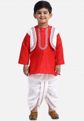 Embroidered Dupion Silk Dhoti Kurta in Red