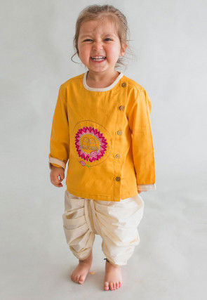 Embroidered Dupion Silk Dhoti Kurta in Yellow