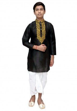 Embroidered Dupion Silk Dhoti Kurta Set in Black