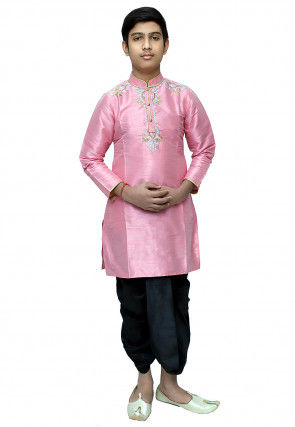 Embroidered Dupion Silk Dhoti Kurta Set in Pink