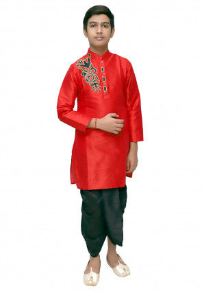 Embroidered Dupion Silk Dhoti Kurta Set in Red
