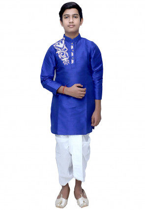 Embroidered Dupion Silk Dhoti Kurta Set in Royal Blue