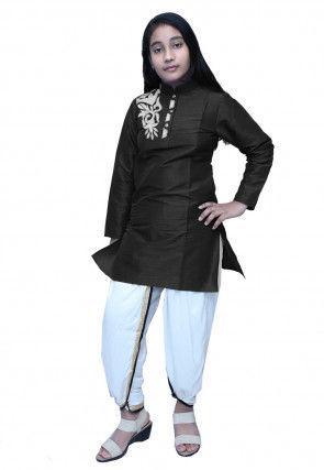 Embroidered Dupion Silk Dhoti Kurti Set in Black