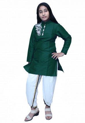 Embroidered Dupion Silk Dhoti Kurti Set in Dark Green