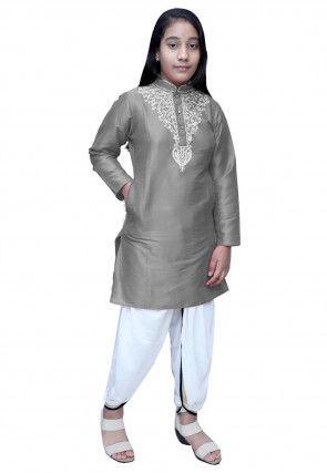 Embroidered Dupion Silk Dhoti Kurti Set in Grey