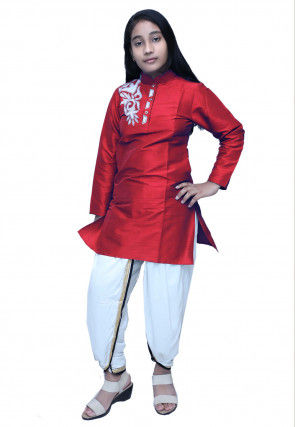 Embroidered Dupion Silk Dhoti Kurti Set in Maroon