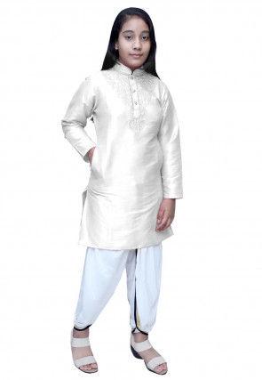 Embroidered Dupion Silk Dhoti Kurti Set in Off White