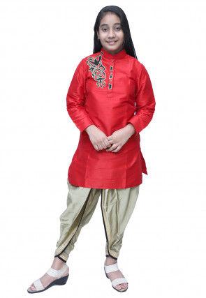 Embroidered Dupion Silk Dhoti Kurti Set in Red