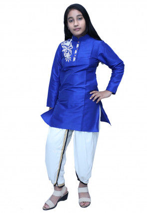 Embroidered Dupion Silk Dhoti Kurti Set in Royal Blue
