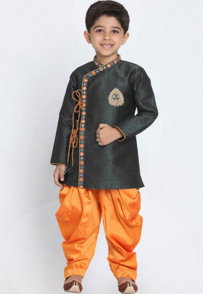 Embroidered Dupion Silk Dhoti Sherwani in Black