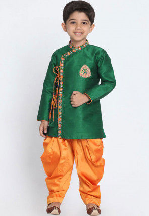 Embroidered Dupion Silk Dhoti Sherwani in Dark Green