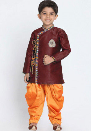 Embroidered Dupion Silk Dhoti Sherwani in Maroon