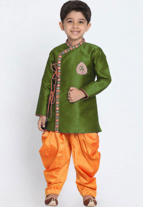 Embroidered Dupion Silk Dhoti Sherwani in Olive Green