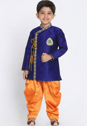Embroidered Dupion Silk Dhoti Sherwani in Royal Blue
