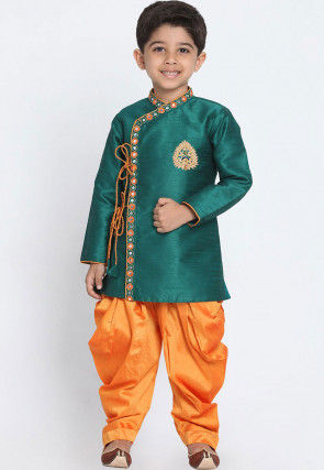 Embroidered Dupion Silk Dhoti Sherwani in Teal Green