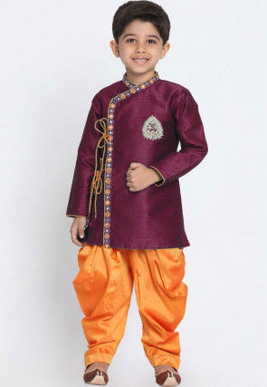 Embroidered Dupion Silk Dhoti Sherwani in Wine