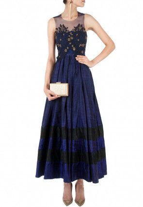 Embroidered Dupion Silk Dress in Navy Blue