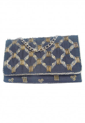 Embroidered Dupion Silk Flap Clutch Cum Sling Bag in Grey