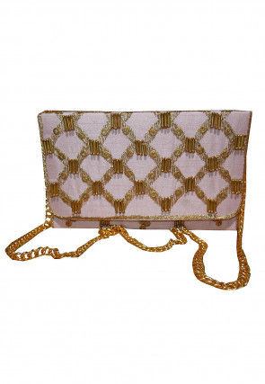 Embroidered Dupion Silk Flap Clutch Cum Sling Bag in Pink