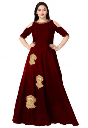 Embroidered Dupion Silk Flared Gown in Maroon