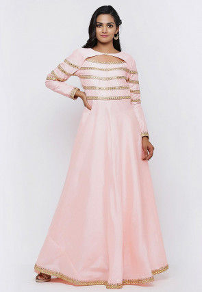 Embroidered Dupion Silk Flared Gown in Peach