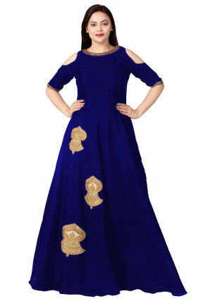 Embroidered Dupion Silk Flared Gown in Royal Blue