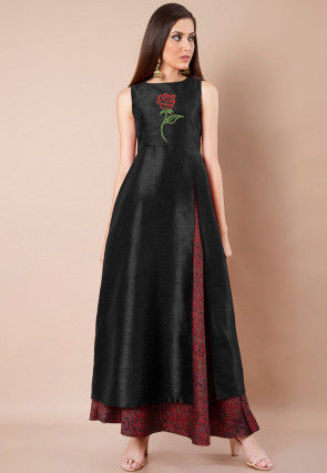 Embroidered Dupion Silk Front Slitted A Line Kurta in Black