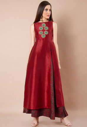 Embroidered Dupion Silk Front Slitted A Line Kurta in Maroon