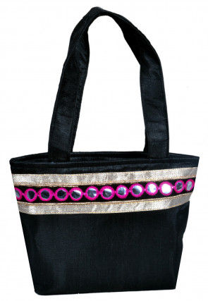 Embroidered Dupion Silk Hand Bag in Black