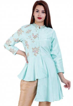 Embroidered Dupion Silk High Low Tunic in Pastel Blue
