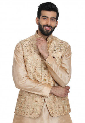 Embroidered Dupion Silk Jacket in Beige