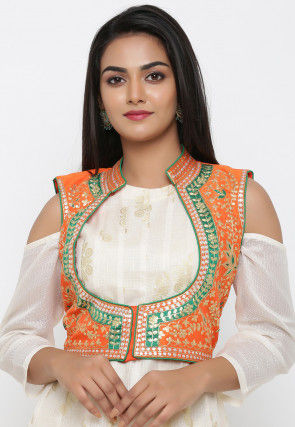 Embroidered Dupion Silk Jacket in Orange