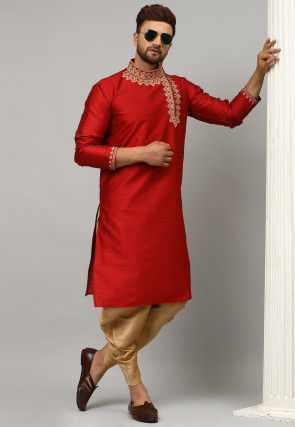 Embroidered Dupion Silk Jacquard Dhoti Kurta in Red