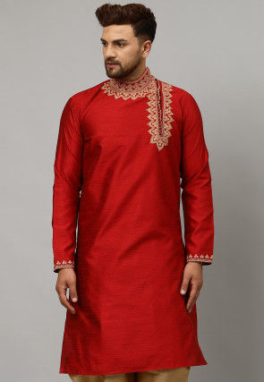 Embroidered Dupion Silk Jacquard Kurta in Red