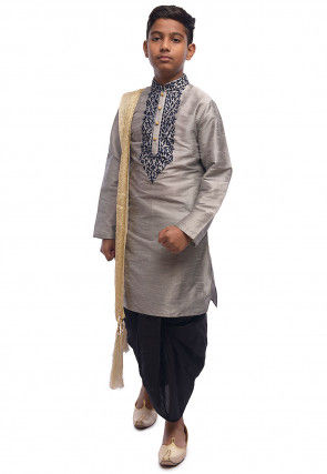 Embroidered Dupion Silk Kurta Dhoti Set in Grey